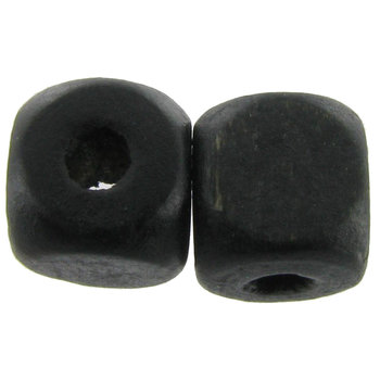 Black Rounded Cube Wood Beads - 8mm